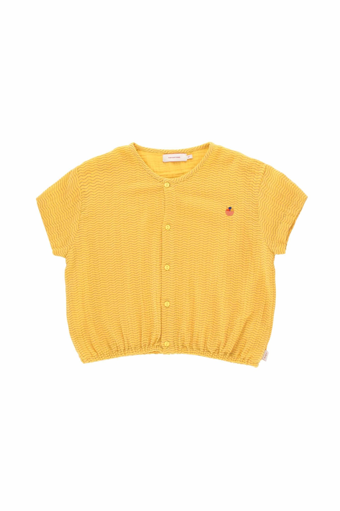 Waves crop shirt - Yellow /Iris Blue-1