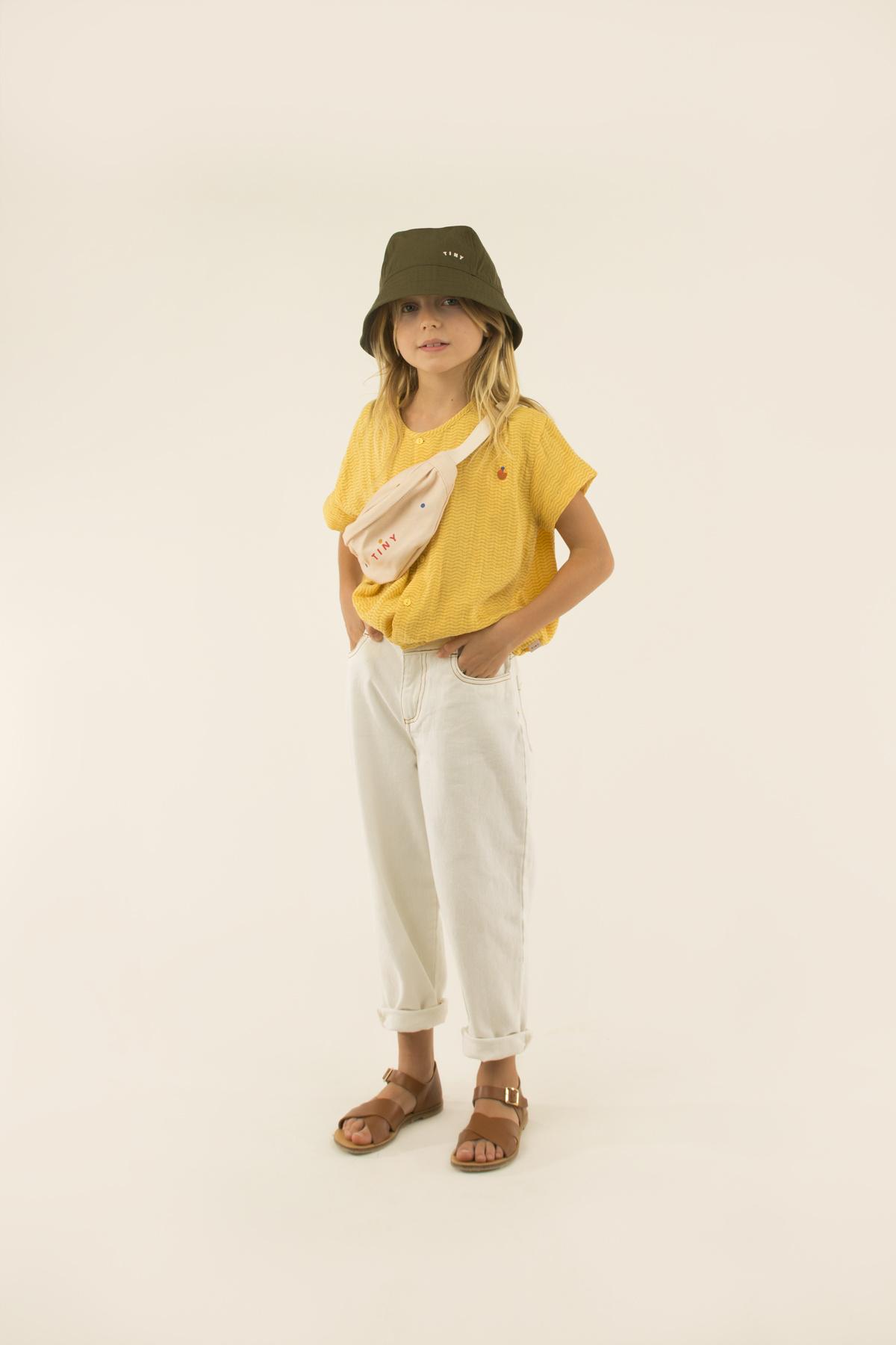 Waves crop shirt - Yellow /Iris Blue-2