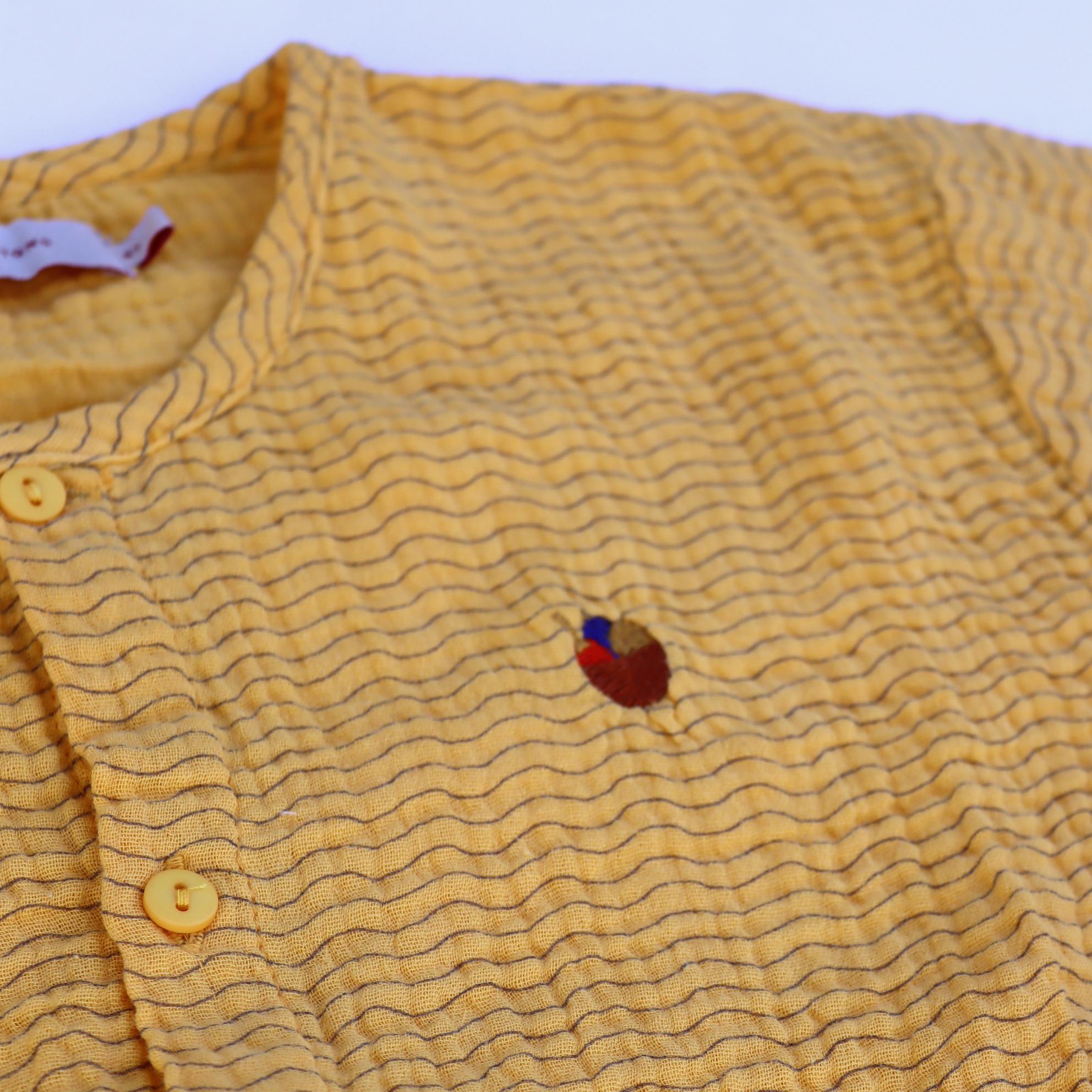 Waves crop shirt - Yellow /Iris Blue-3
