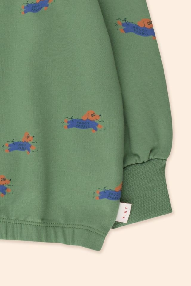Doggy paddle mockneck sweatshirt - Green / Iris Blue-4
