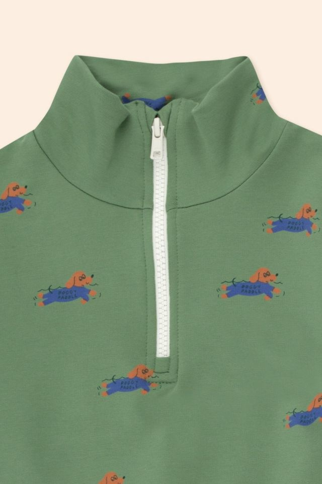 Doggy paddle mockneck sweatshirt - Green / Iris Blue-3