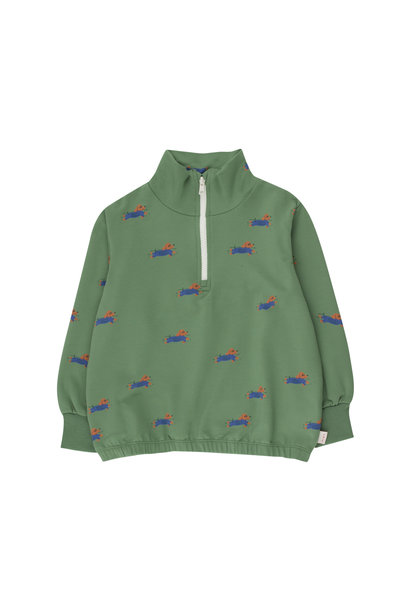 Doggy paddle mockneck sweatshirt - Green / Iris Blue