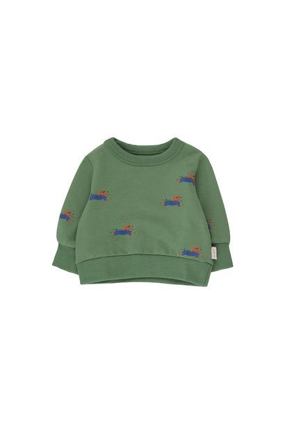 Doggy paddle sweatshirt - Green / Iris Blue