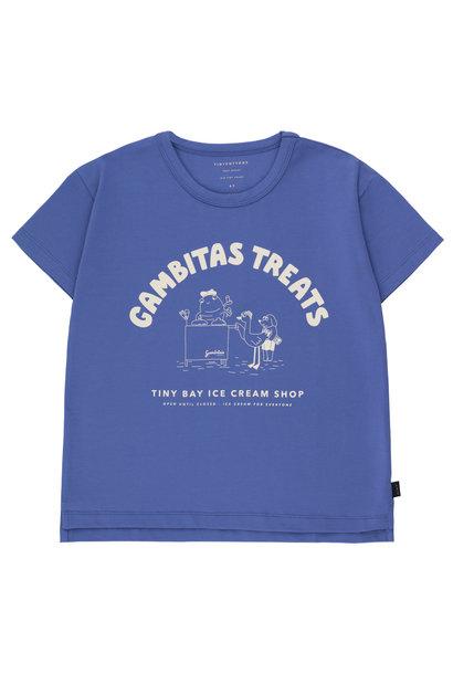 Gambitas treats tee - Iris Blue / Light Cream