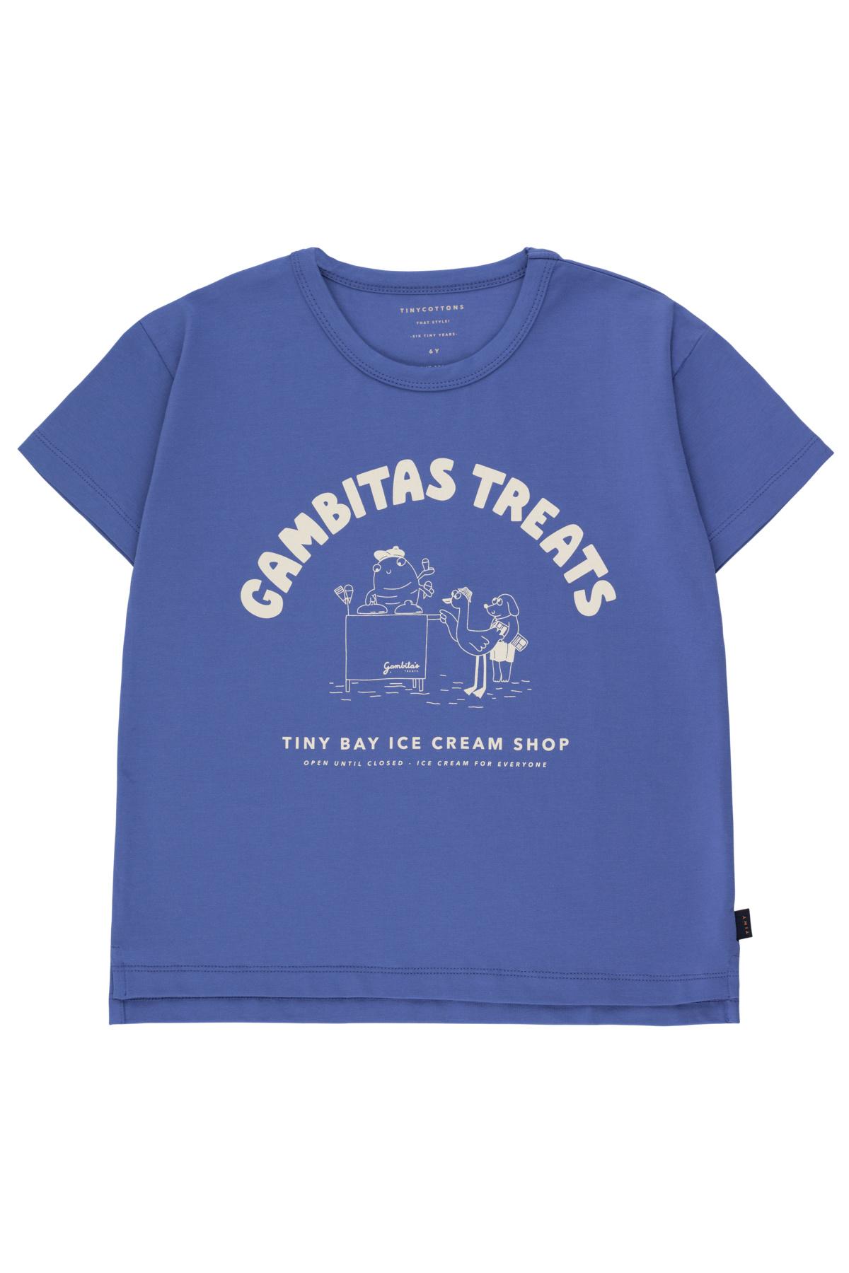 Gambitas treats tee - Iris Blue / Light Cream-1