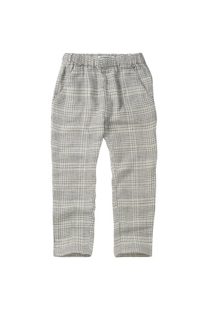 Tapered trousers - Block pattern White/Blue