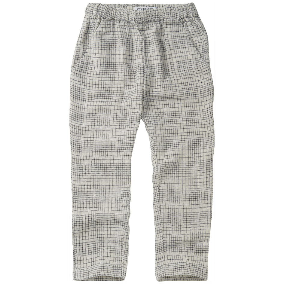 Tapered trousers - Block pattern White/Blue-1