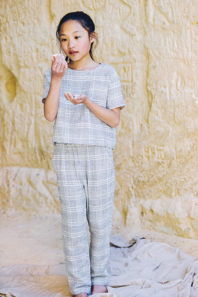 Tapered trousers - Block pattern White/Blue-2