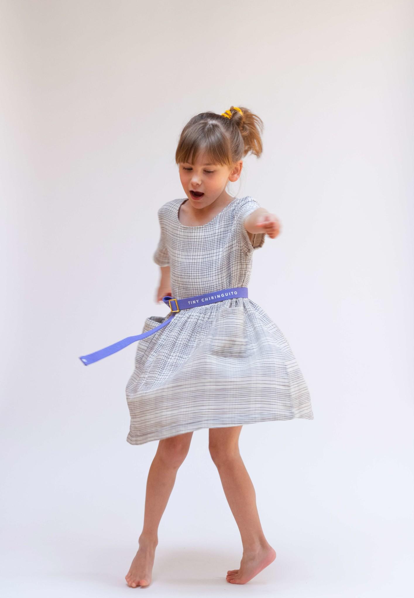 Dress - Block pattern White/Blue-2