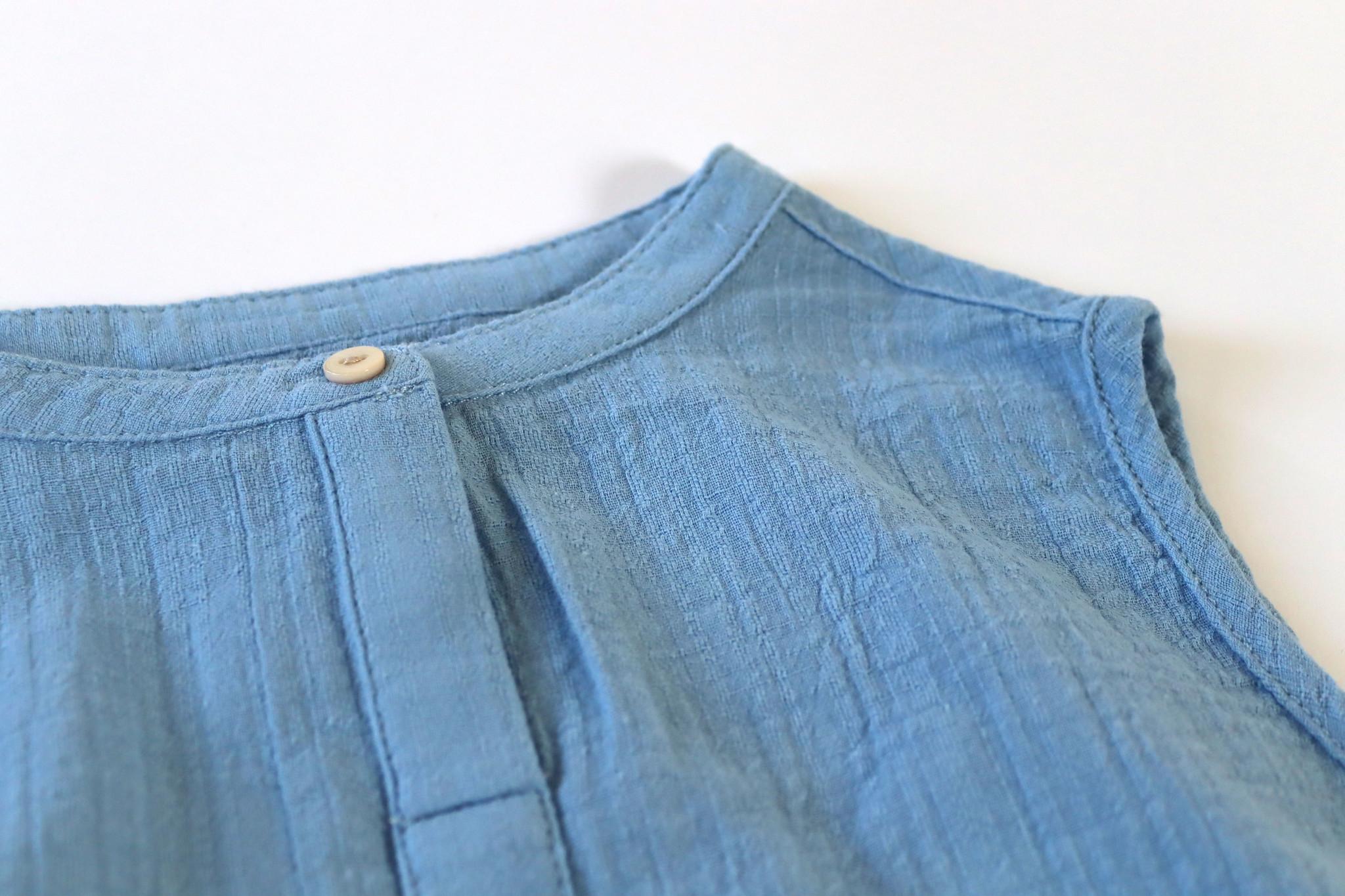 Sleeveless blouse - Shirt Blue-3