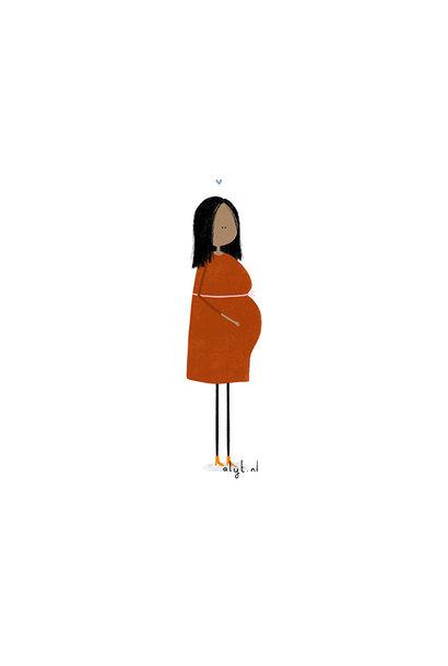Ansichtkaart - Zwanger rood