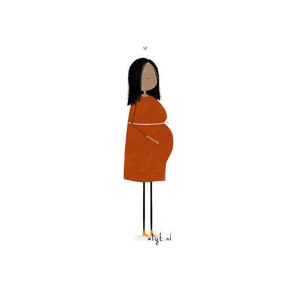 Ansichtkaart - Zwanger rood-1