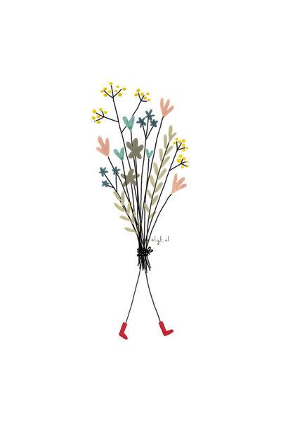 Ansichtkaart - Bosje bloemen