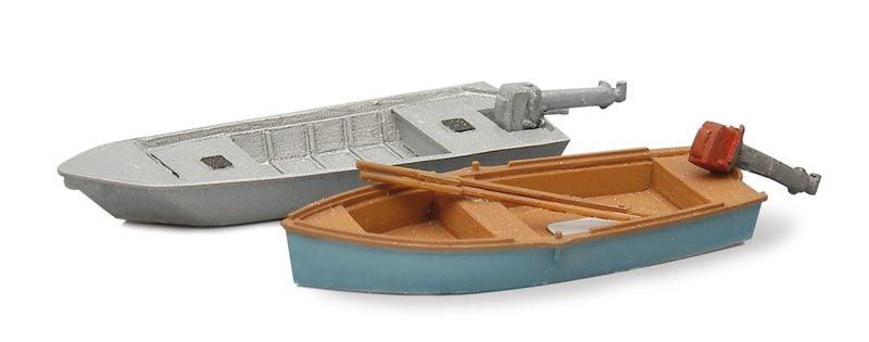 Sportvissersboten modern (2x), 1:87 bouwpakket uit resin, ongeverfd