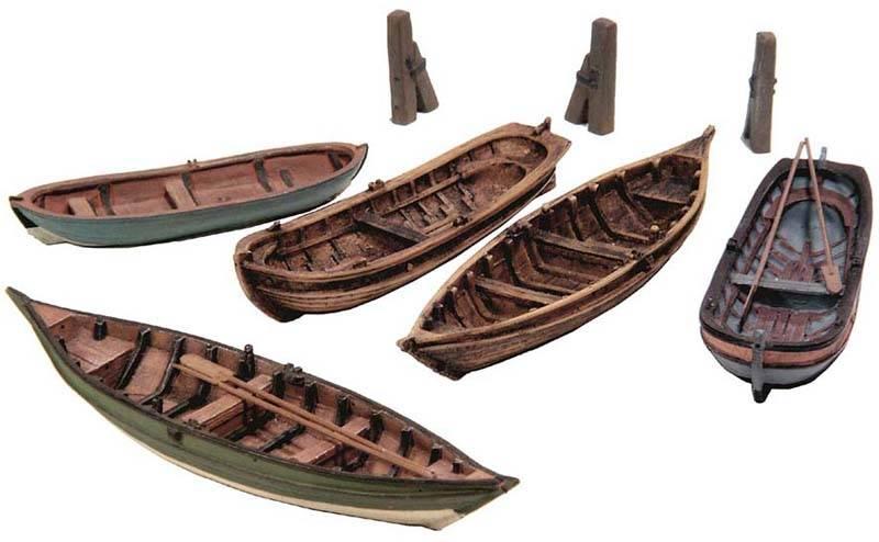 Ruderboote (5x), 1:87 Bausatz aus Resin, unlackiert