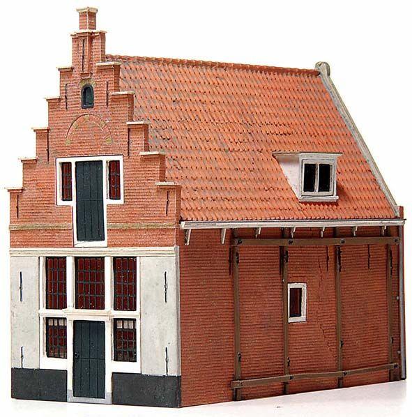 17e eeuws huis 'De Koophandel', 1:87, bouwpakket uit resin, ongeverfd