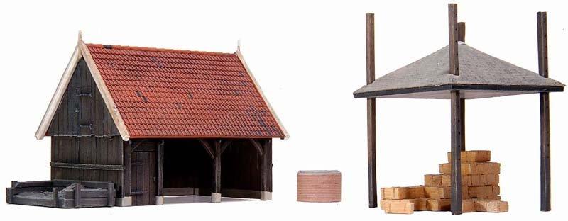 Schuur en accessoires, 1:87, bouwpakket uit resin, ongeverfd