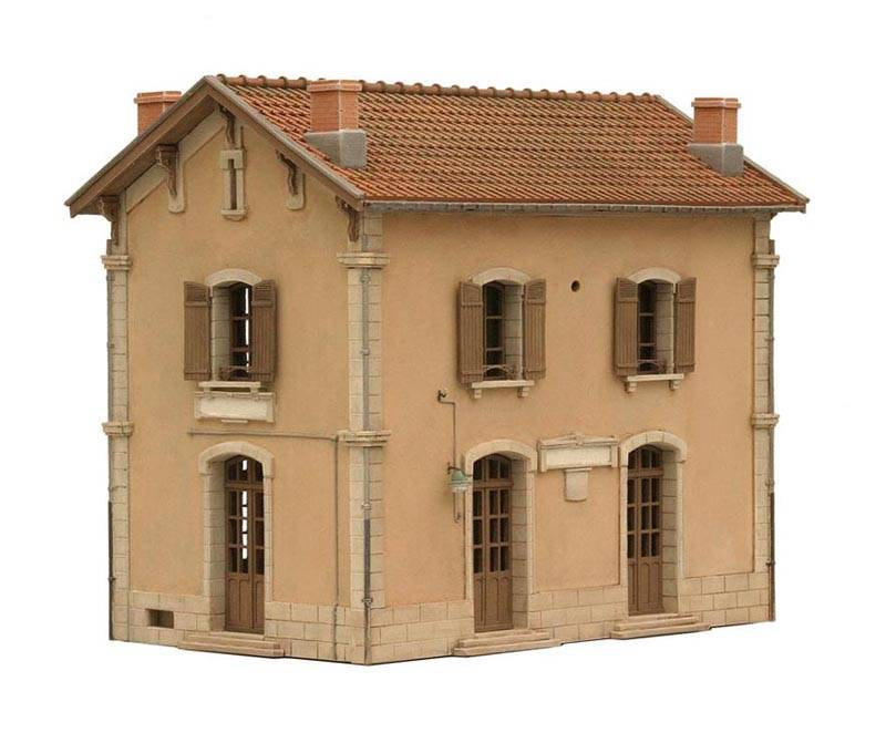Train station in Mauzens-Miremont, France, 1:87, resin kit, unpainted