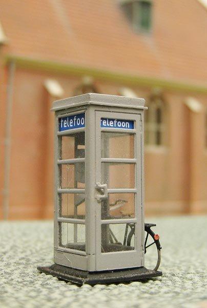 PTT-telefooncel 1940-1960, 1:87, bouwpakket uit resin, ongeverfd