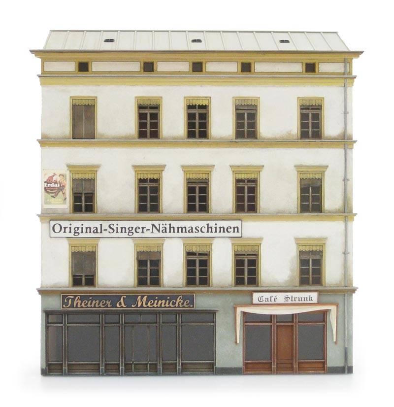 Facade of Theiner & Meinicke sewing machine store, 1:87, resin kit, unpainted
