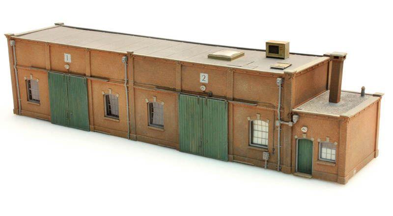 Lagergebäude Halbmodell, 1:87, Bausatz aus Resin, unlackiert