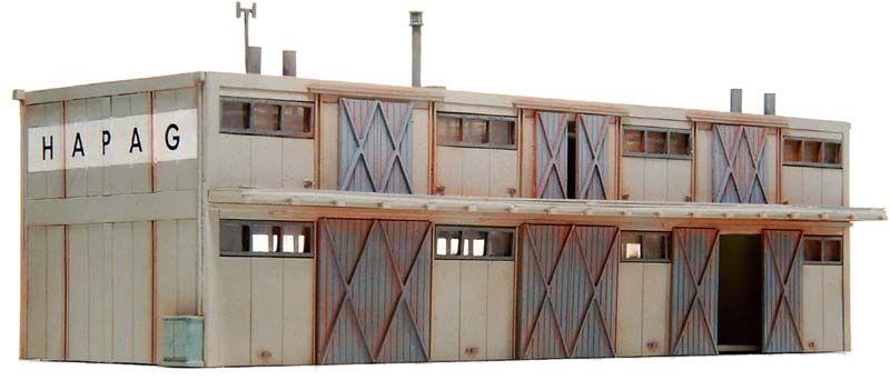 Loods met twee verdiepingen, 1:160, bouwpakket uit resin, ongeverfd