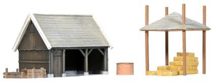 Schuur en accessoires, 1:160, bouwpakket uit resin, ongeverfd