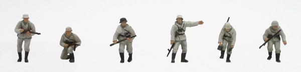 Set 1 Duitse infanterie in Winteruniform, 6 figuren, 1:87, bouwpakket uit resin, ongeverfd