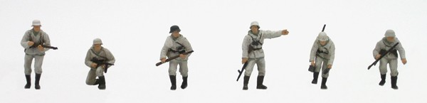 Set 1 German infantry winter uniform, 6 figures, 1:87, resin kit, unpainted