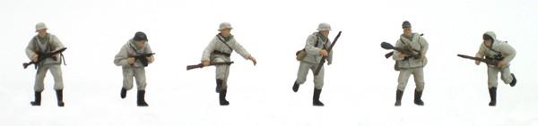 Set 2 Duitse infanterie in Winteruniform, 6 figuren, 1:87, bouwpakket uit resin, ongeverfd