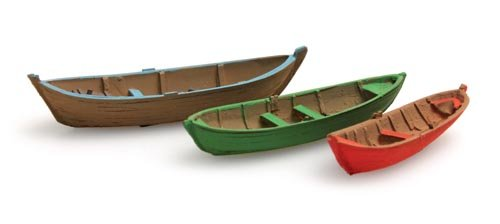 Rowing boats (3x), 1:160, ready made from resin, painted