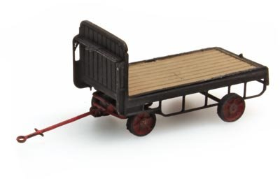 Anhänger Bahnsteigkarre schwarz, 1:160, Fertigmodell ausResin, lackiert