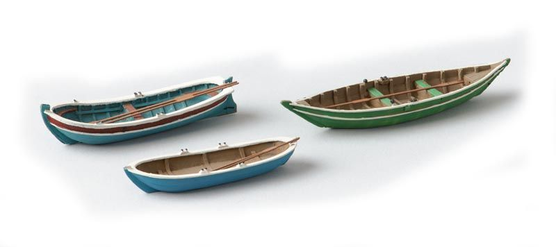 Rowboats 3 pieces, 1:87 resin ready made, painted