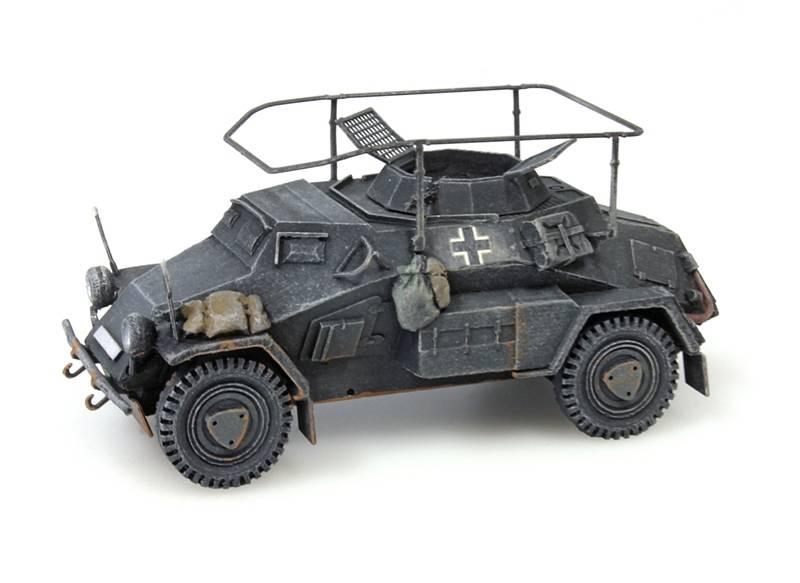Sd.Kfz 223, 4-rad, Funkwagen, MG34, grijs, 1:87 kant en klaar resin, geverfd