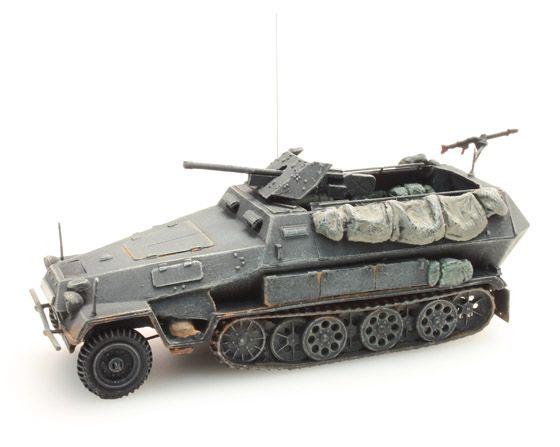 Sd. Kfz 251/10B 3.7 cm. PAK, grijs, 1:87 kant en klaar resin, geverfd