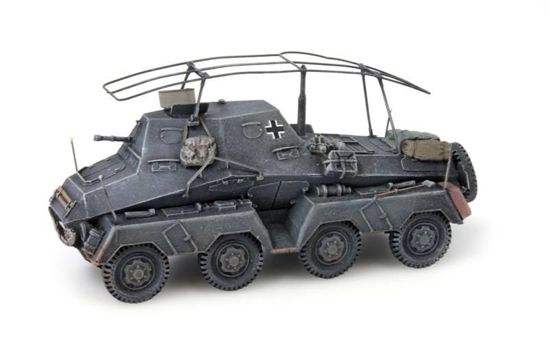Sd.Kfz 263 8-Rad Funkwagen, grijs, 1:87 kant en klaar resin, geverfd