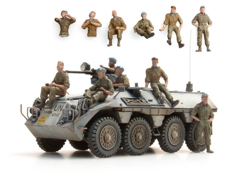 Ausruhende Blauhelme DAF YP-408 UNIFIL, 6 Figuren
