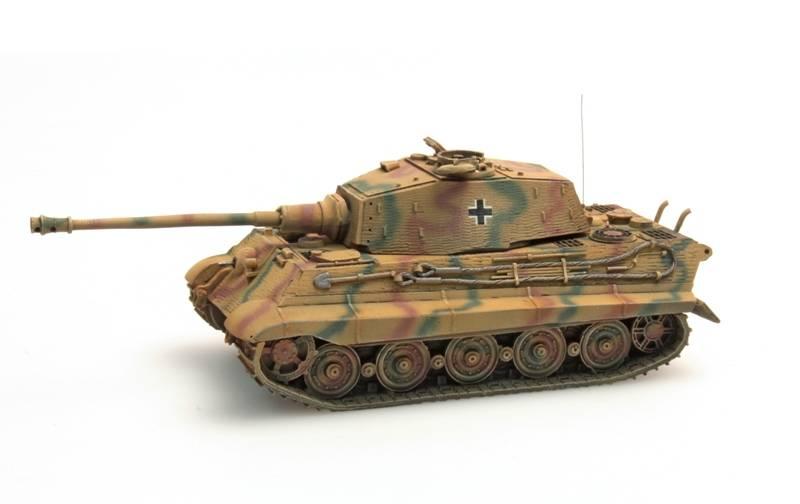 Tiger II Henschel, Zimmerit, Camo, 1:87 kant en klaar resin, geverfd