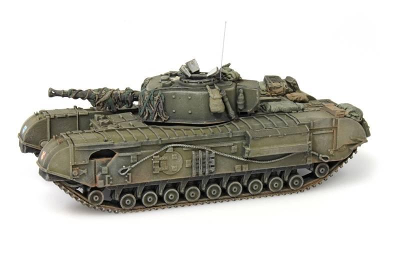 Churchill Tank mk VII, 1:87 kant en klaar resin, geverfd