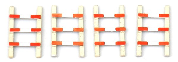 4 pieces of fence for railroad crossing, 1:87, resin ready made, painted