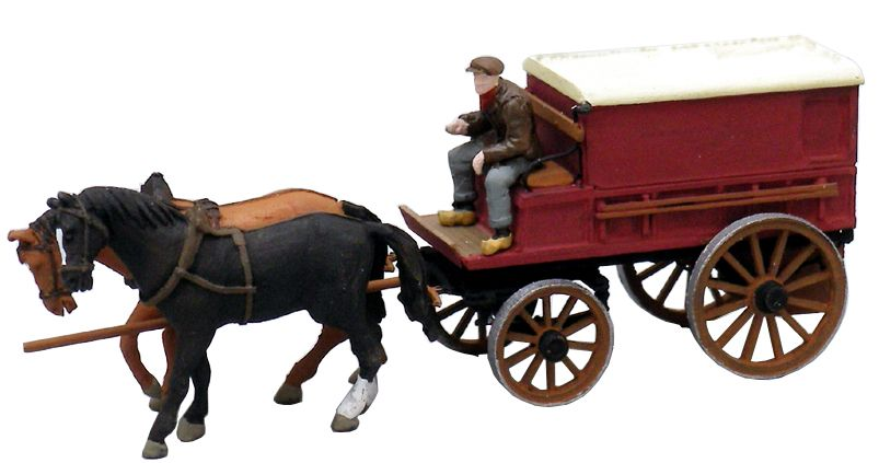 Covered Farmer's Wagon w. 2 Horses and 1 Driver