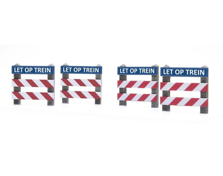 "Dutch warning sign railroad crossing ""LET OP"""