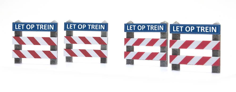 "Zäune Bahnübergang mit Schild ""LET OP"""