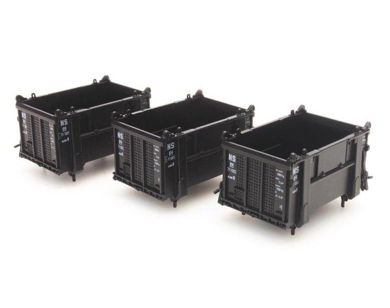 Set 3 open containers, zwart