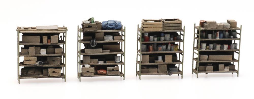 4 storage shelves