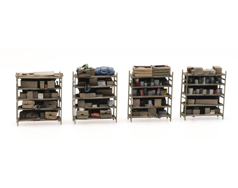 4 storage shelves