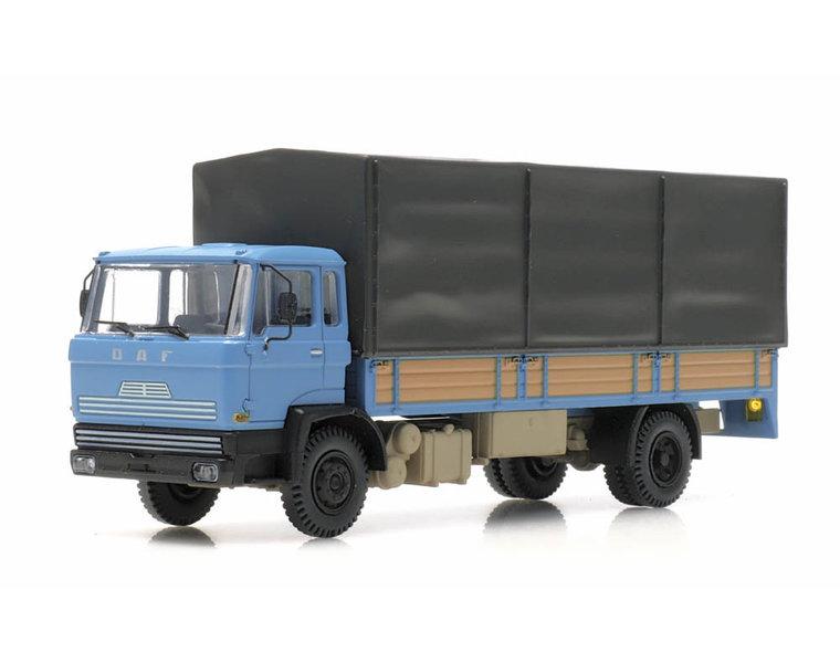 DAF tilt-cab 1970 open bed truck with canvas blue