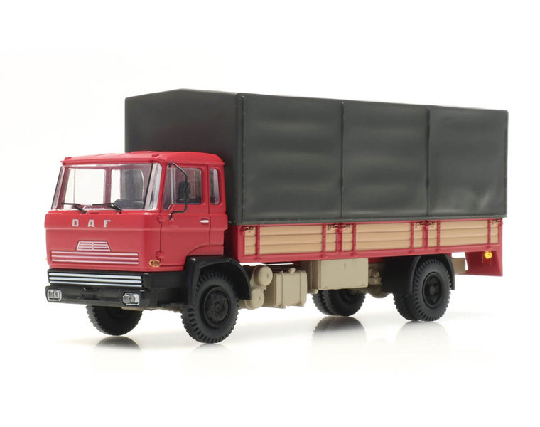 DAF tilt-cab 1970 open bed truck with canvas red