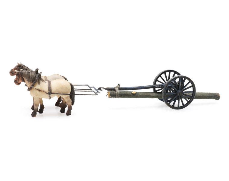 Rückewagen und Pferde