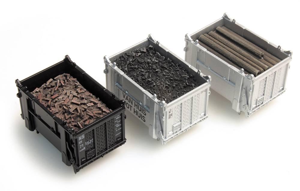 Lading container: kolen, balken, puin